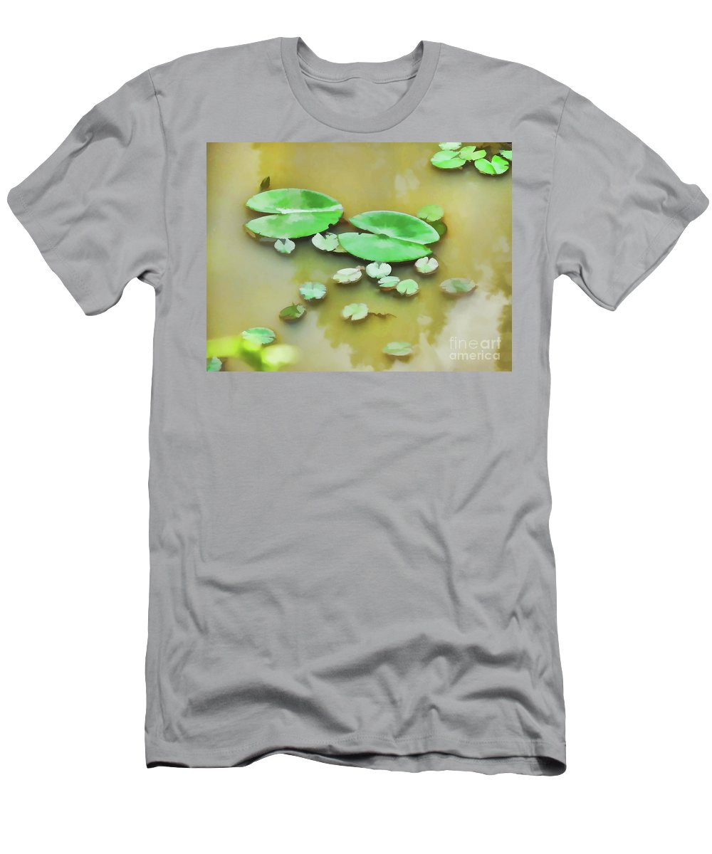 Aquatic Men's T-Shirt (Athletic Fit) featuring the painting Green Lotus Leaf In The Lake by Jeelan Clark