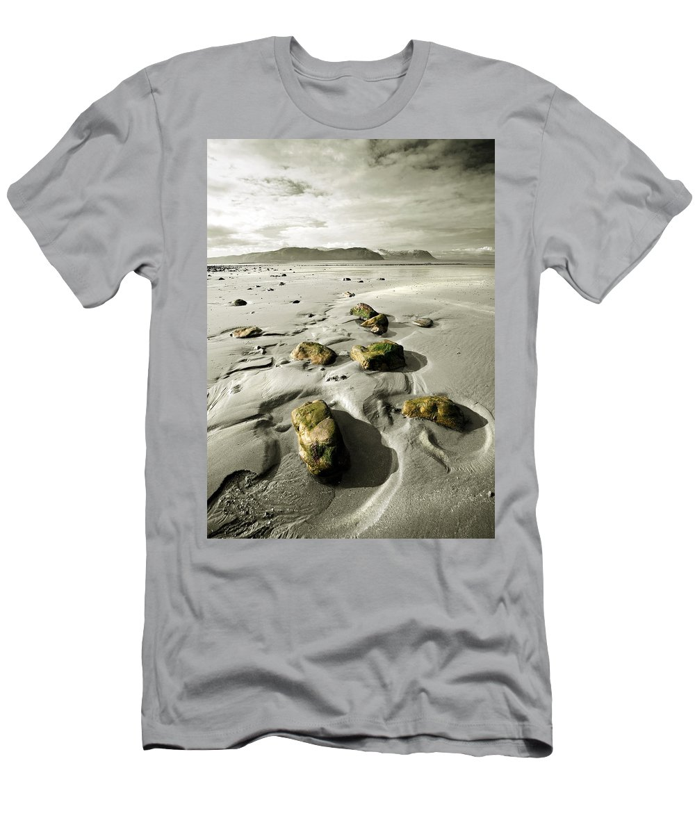 Beach Men's T-Shirt (Athletic Fit) featuring the photograph Green Stones On A North Wales Beach by Mal Bray