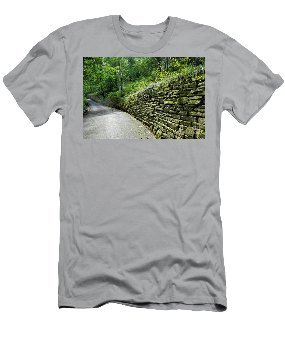 Bricks Men's T-Shirt (Athletic Fit) featuring the photograph Green Wall by Richard Greiner
