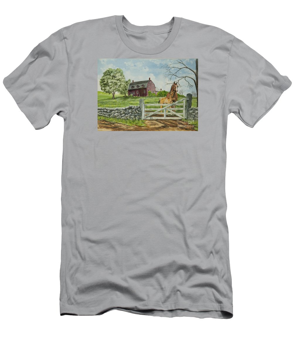 Horses Men's T-Shirt (Athletic Fit) featuring the painting Greeting At The Gate by Charlotte Blanchard