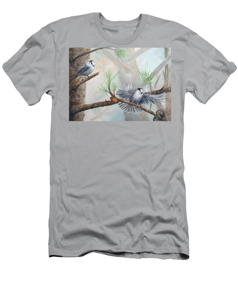 Grey Jay Men's T-Shirt (Athletic Fit) featuring the painting Grey Jays In A Jack Pine by Ruth Kamenev
