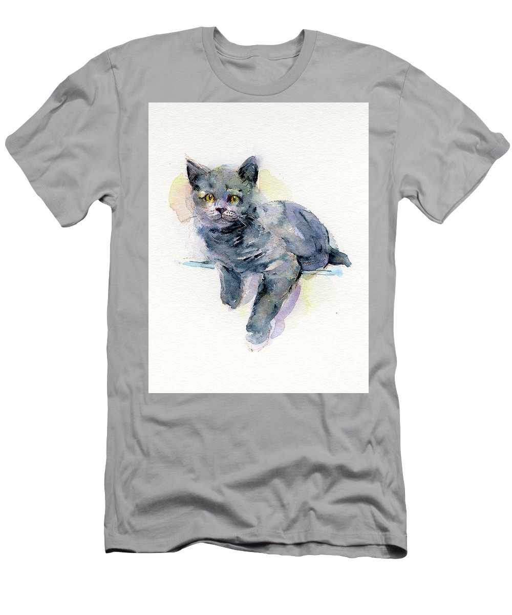 Gray Men's T-Shirt (Athletic Fit) featuring the painting Grey Kitten by John Keeling
