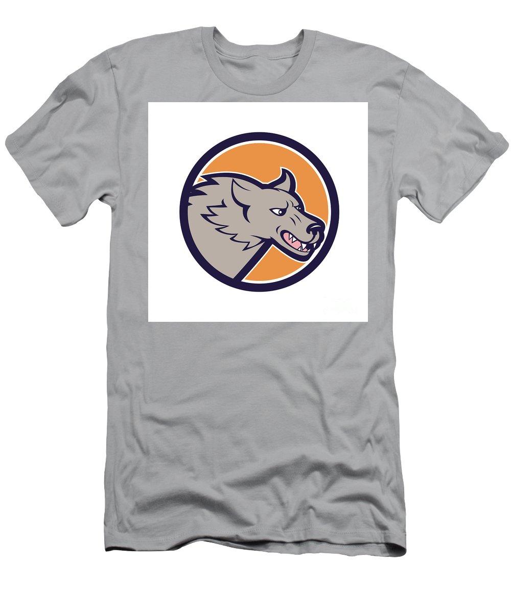 Grey Wolf Men's T-Shirt (Athletic Fit) featuring the digital art Grey Wolf Head Angry Circle Cartoon by Aloysius Patrimonio