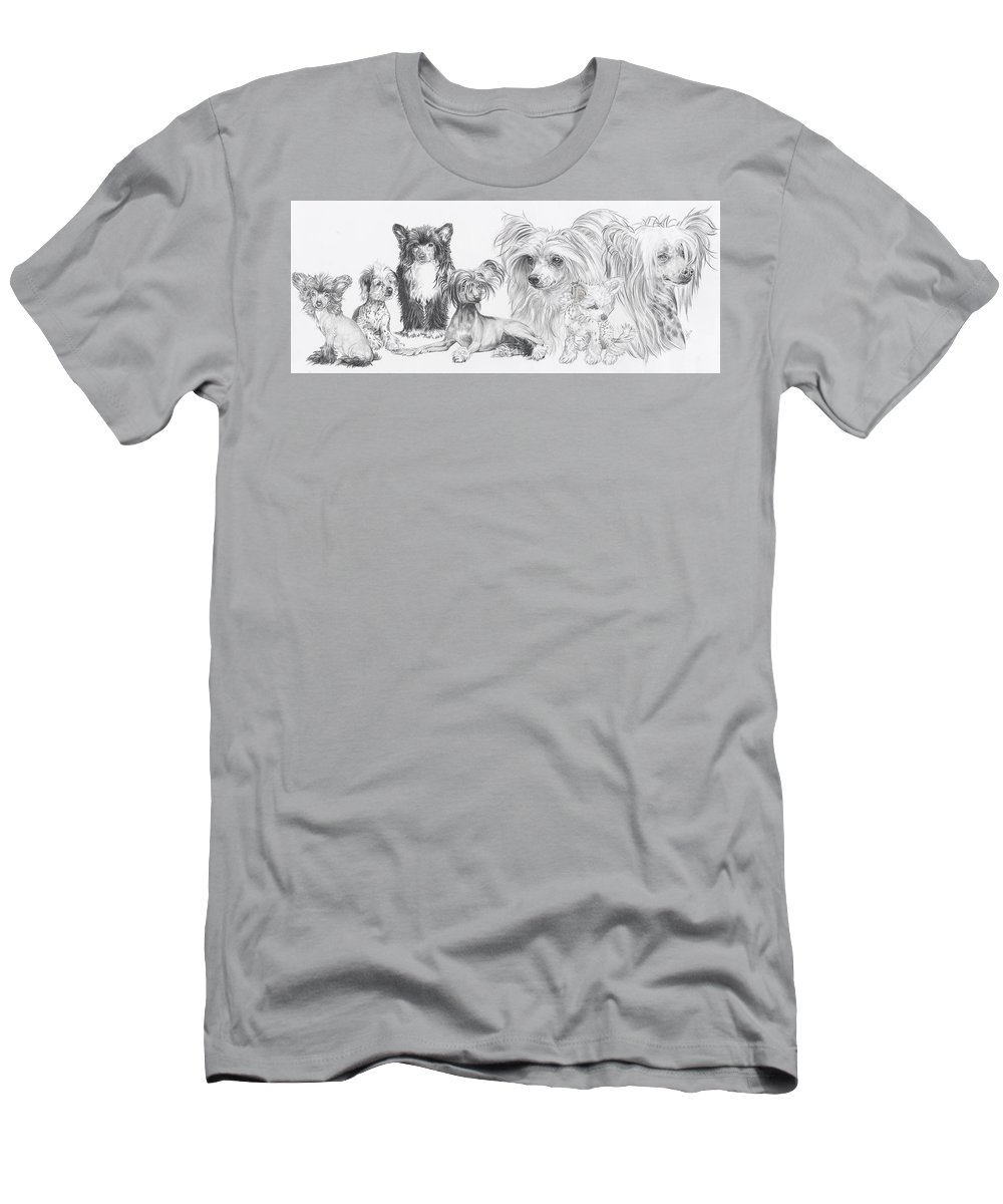 Toy Group Men's T-Shirt (Athletic Fit) featuring the drawing Growing Up Chinese Crested And Powderpuff by Barbara Keith
