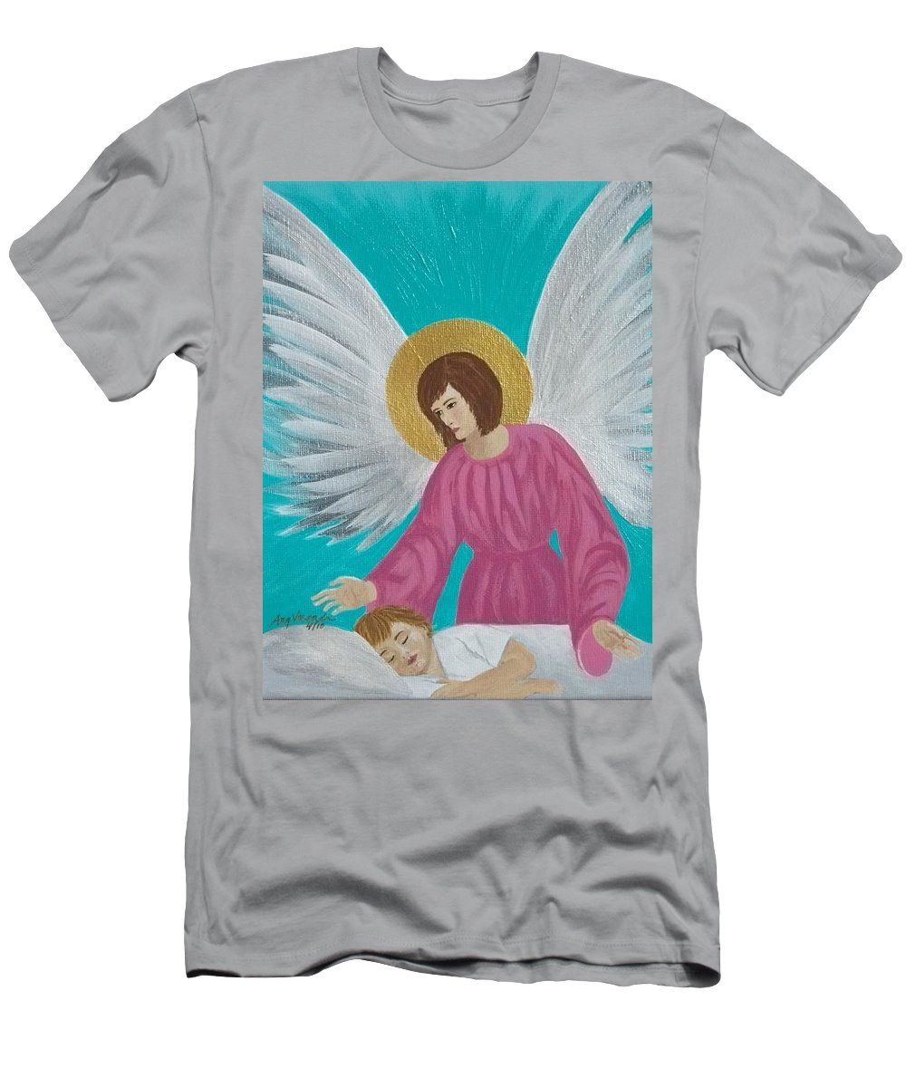 Guardian Men's T-Shirt (Athletic Fit) featuring the painting Guardian Angel by Angela Miles Varnado