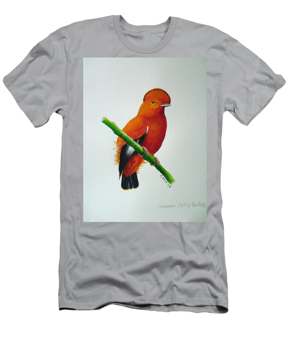 Cock-of-the-rock Men's T-Shirt (Athletic Fit) featuring the painting Guianan Cock-of-the-rock by Christopher Cox