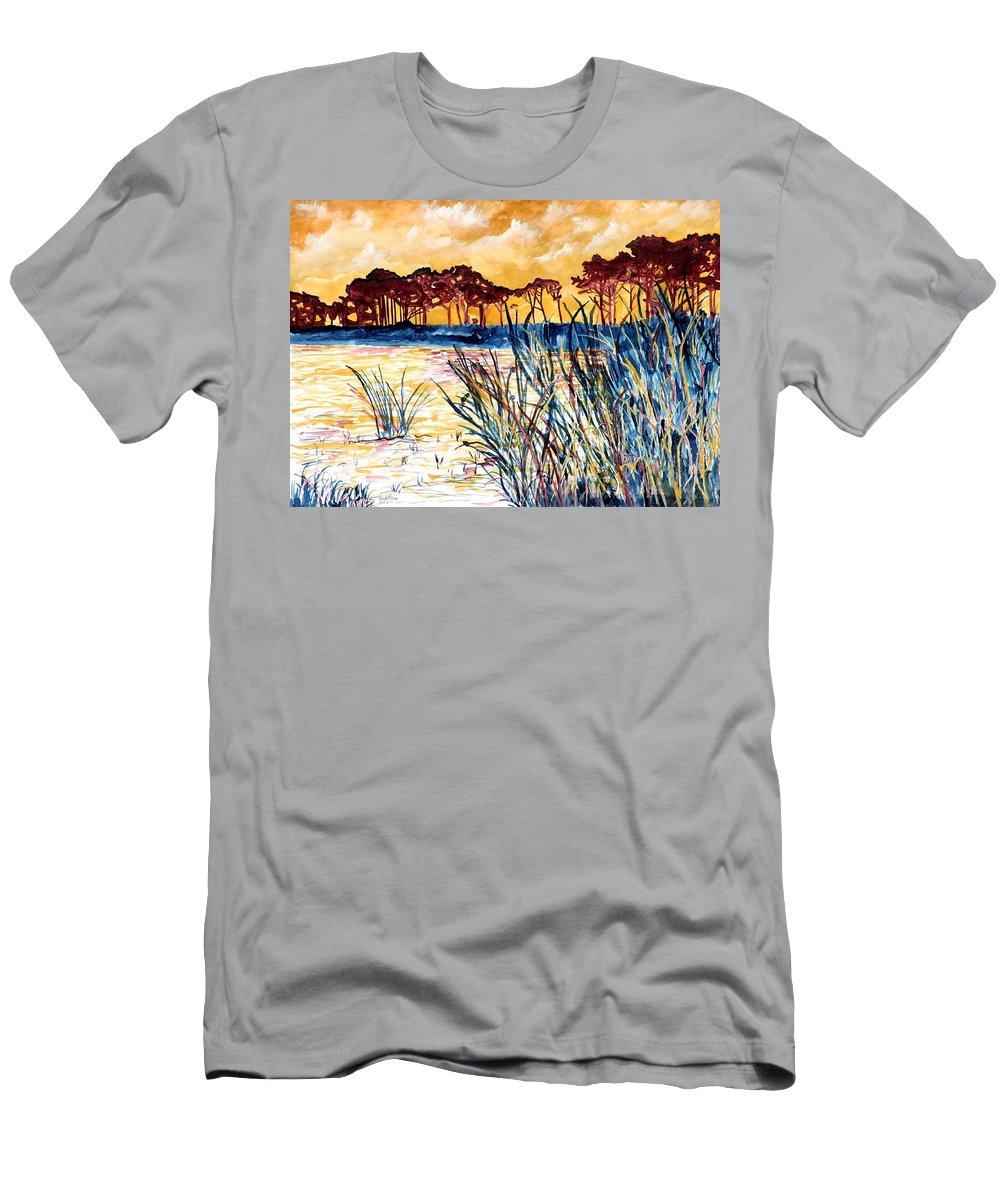 Gulf Coast T-Shirt featuring the painting Gulf coast seascape tropical art print by Derek Mccrea