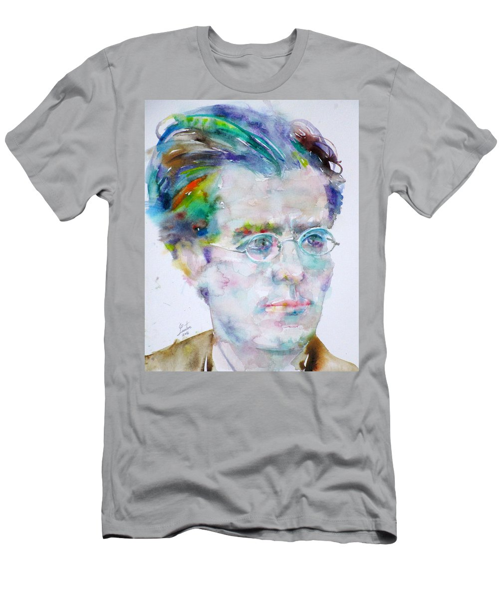 Mahler Men's T-Shirt (Athletic Fit) featuring the painting Gustav Mahler - Watercolor Portrait.3 by Fabrizio Cassetta