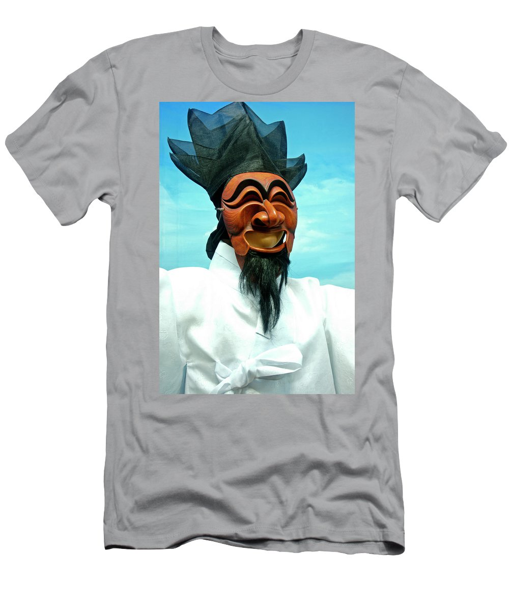 Asia Men's T-Shirt (Athletic Fit) featuring the photograph Hahoe Mask by Michele Burgess