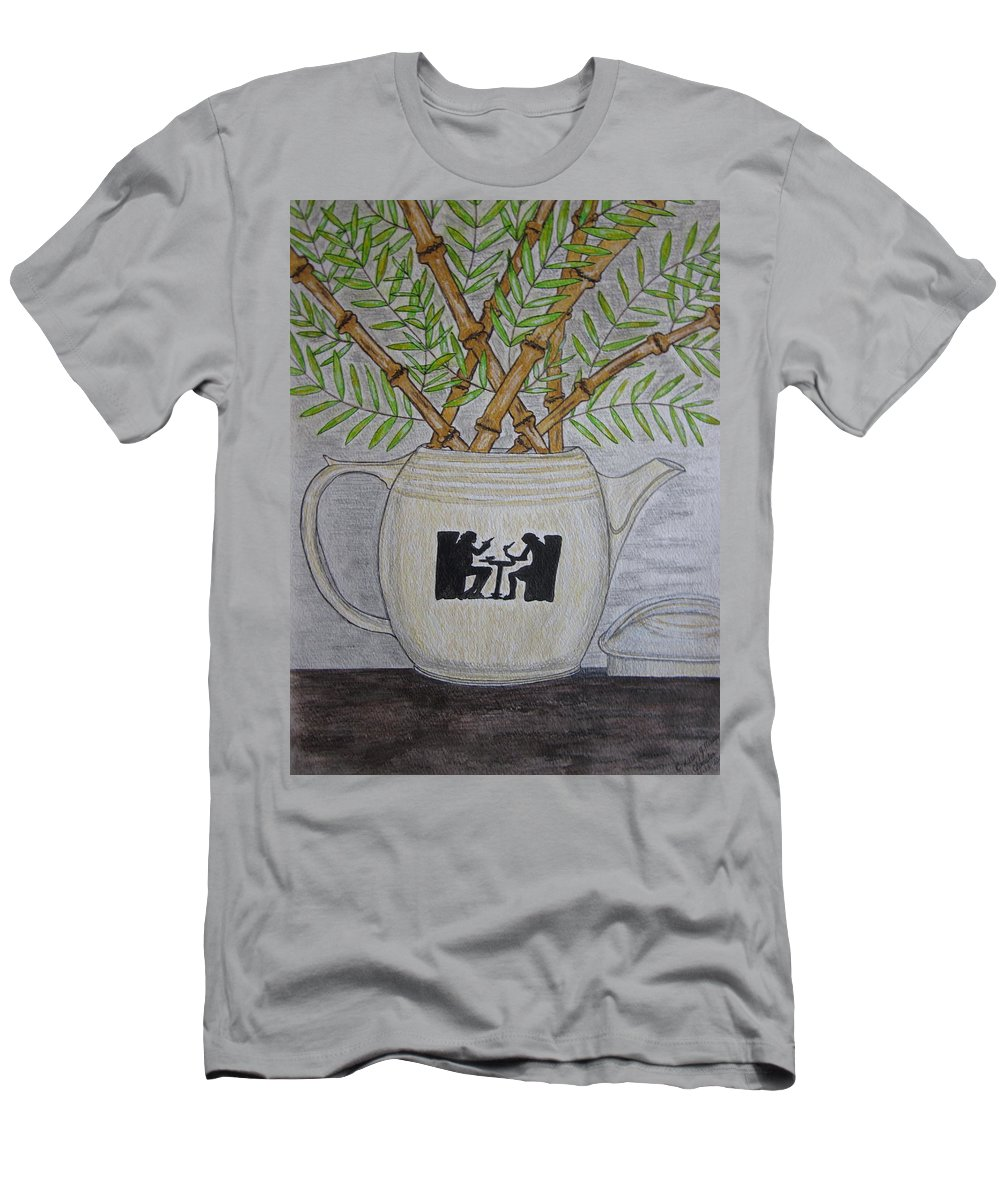 Hall China T-Shirt featuring the painting Hall China Silhouette Pitcher with Bamboo by Kathy Marrs Chandler