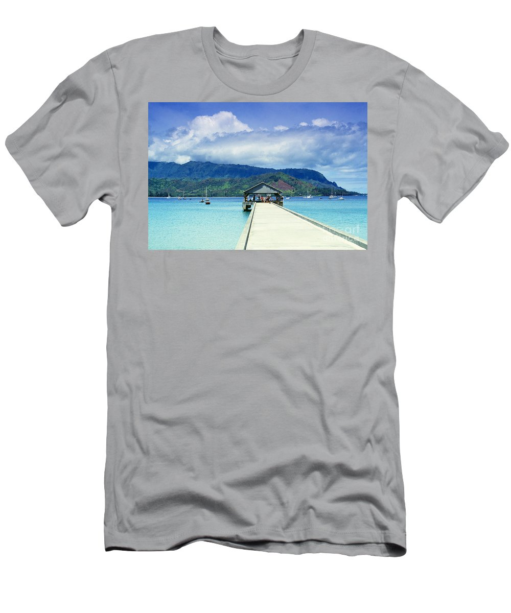 Bali Hai Men's T-Shirt (Athletic Fit) featuring the photograph Hanalei Bay And Pier by Vince Cavataio - Printscapes