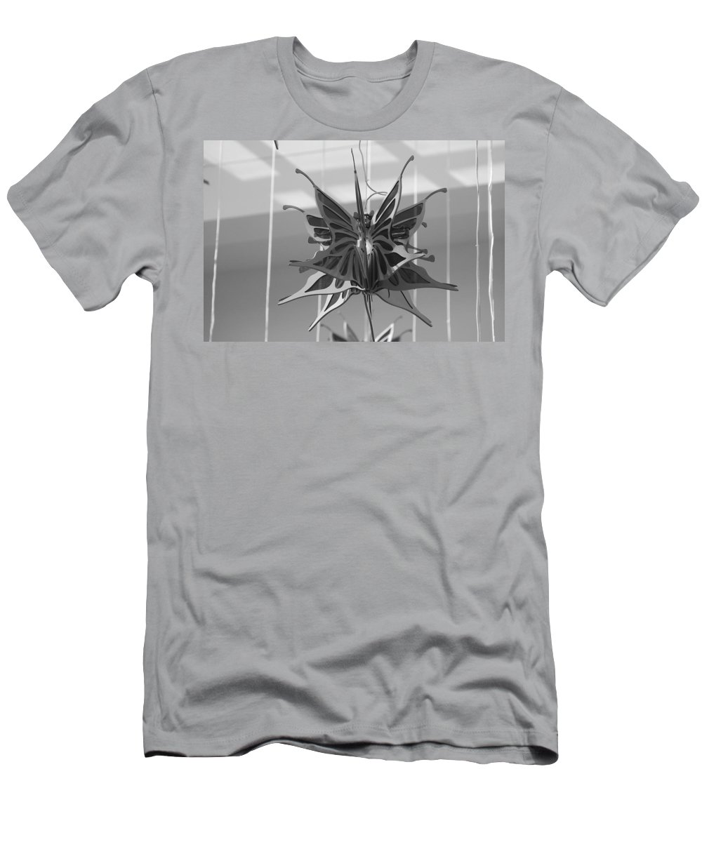 Black And White Men's T-Shirt (Athletic Fit) featuring the photograph Hanging Butterfly by Rob Hans