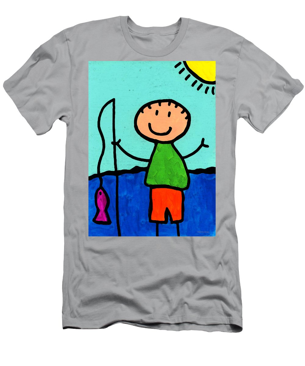 Childlike Men's T-Shirt (Athletic Fit) featuring the painting Happi Arte 2 - Boy Fish Art by Sharon Cummings