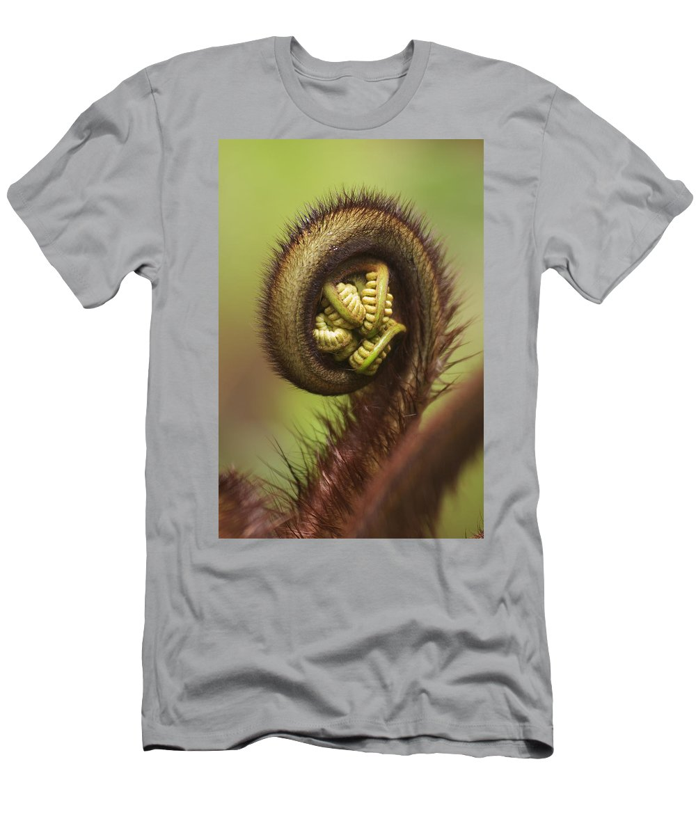 Abstract Men's T-Shirt (Athletic Fit) featuring the photograph Hapuu Fern Frond Shoot by Greg Vaughn - Printscapes