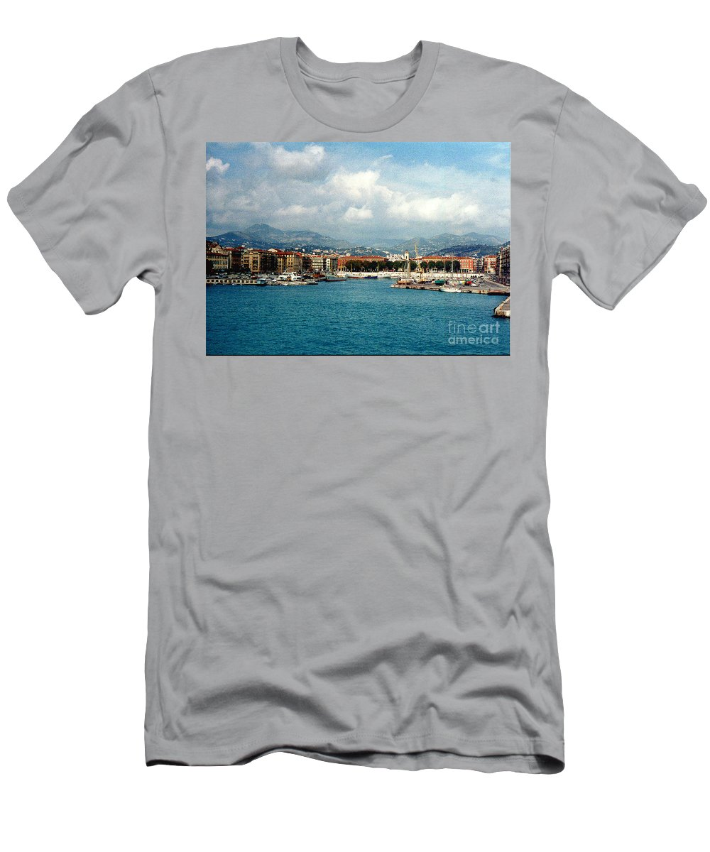 Landscape Men's T-Shirt (Athletic Fit) featuring the photograph Harbor Scene In Nice France by Nancy Mueller