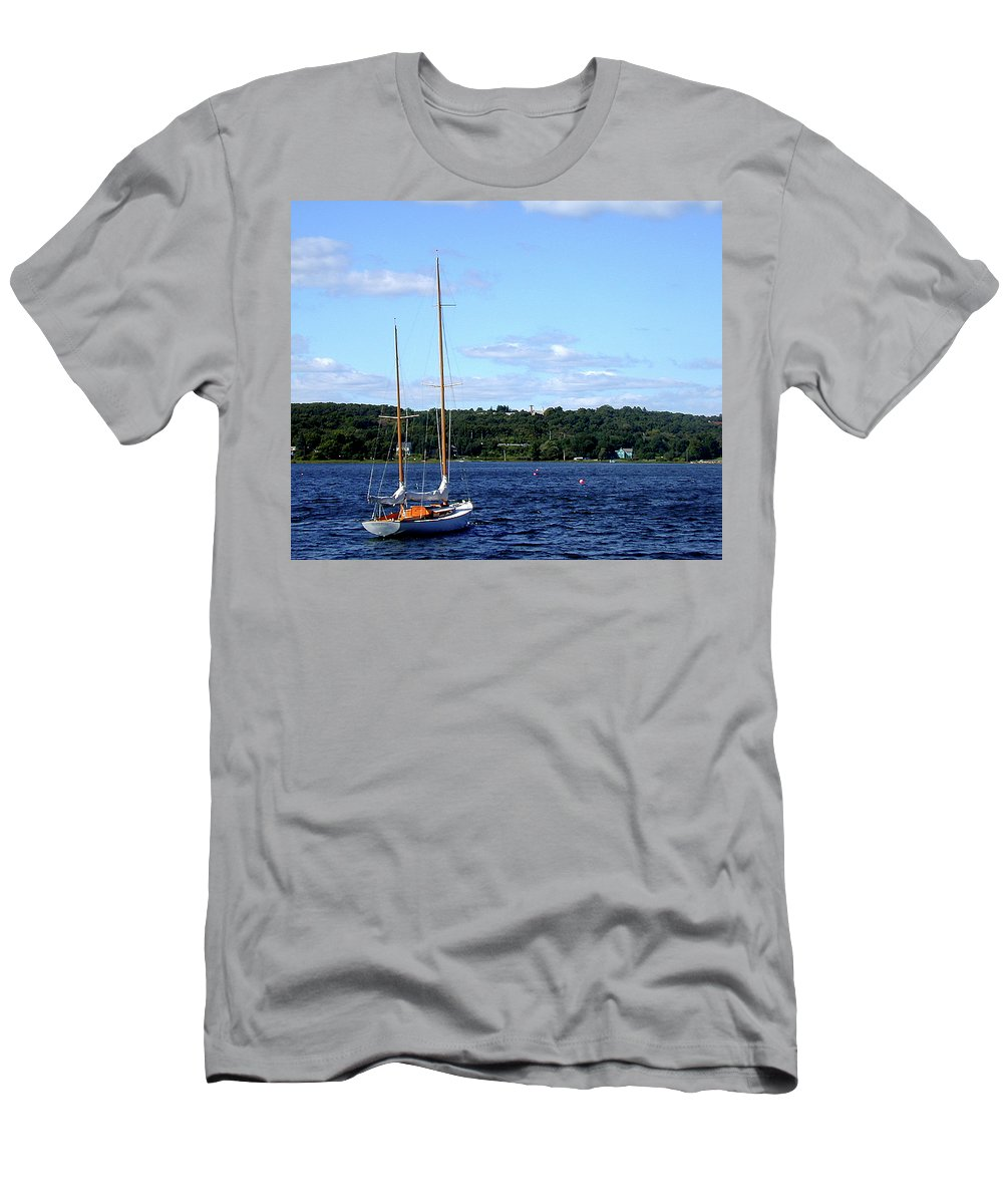 Mystic Seaport Men's T-Shirt (Athletic Fit) featuring the photograph Harbor View by Gary Adkins
