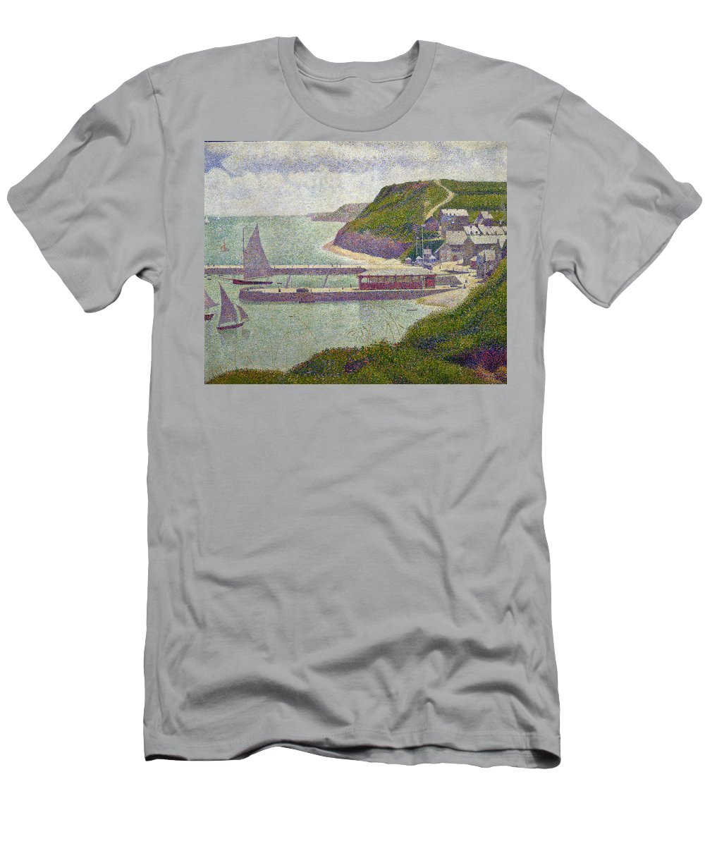 Harbour At Port-en-bessin At High Tide Men's T-Shirt (Athletic Fit) featuring the painting Harbour At Port En Bessin At High Tide by Georges Pierre Seurat