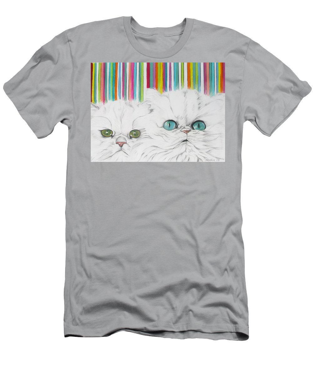 Cat Painting Men's T-Shirt (Athletic Fit) featuring the pastel Harley And Chloe by Michelle Hayden-Marsan