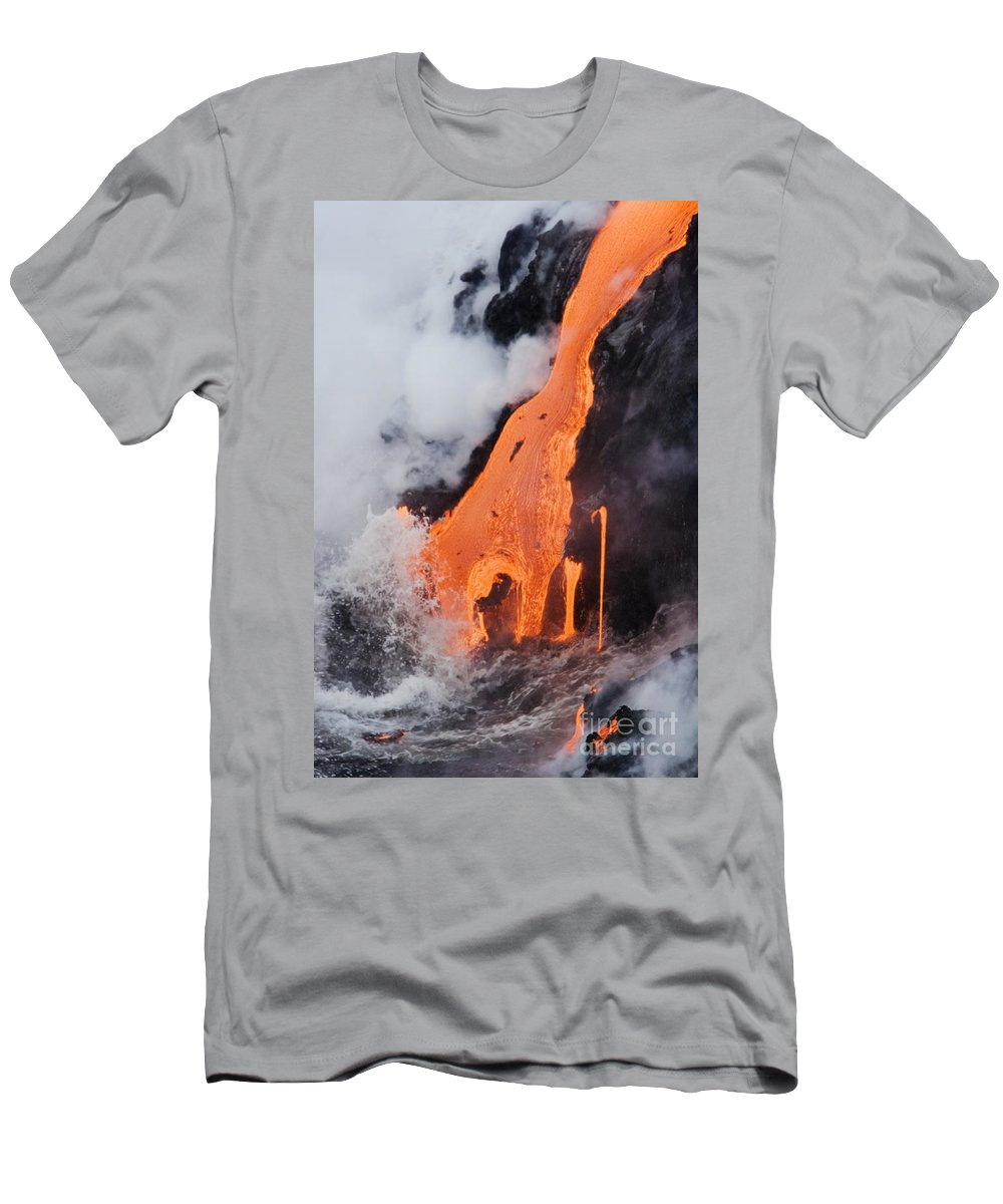 Active Men's T-Shirt (Athletic Fit) featuring the photograph Hawaii Lava by Ron Dahlquist - Printscapes