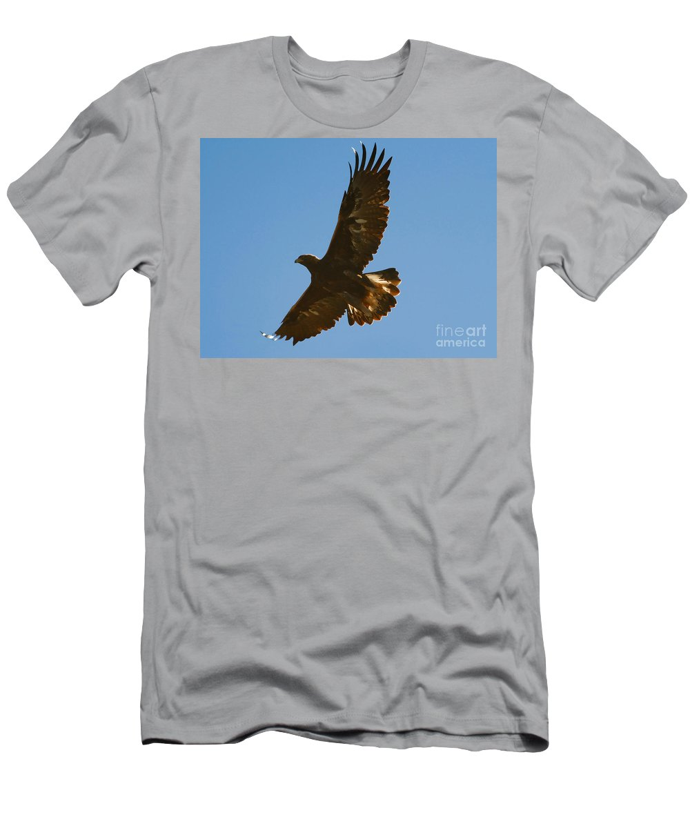 Hawk Men's T-Shirt (Athletic Fit) featuring the photograph Hawk In Flight by David Lee Thompson