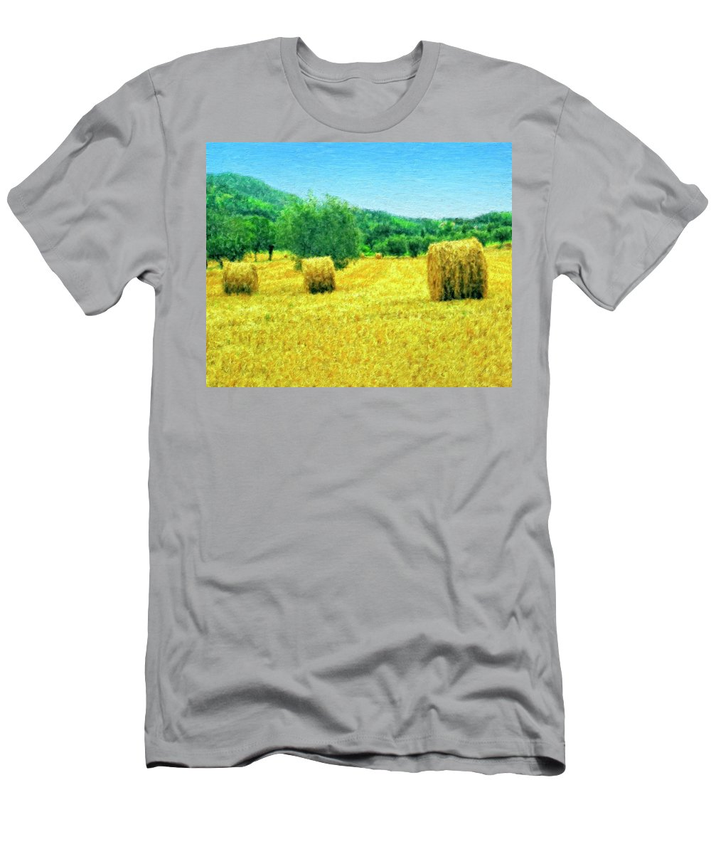 Hay Harvest In Tuscany Men's T-Shirt (Athletic Fit) featuring the painting Hay Harvest In Tuscany by Dominic Piperata