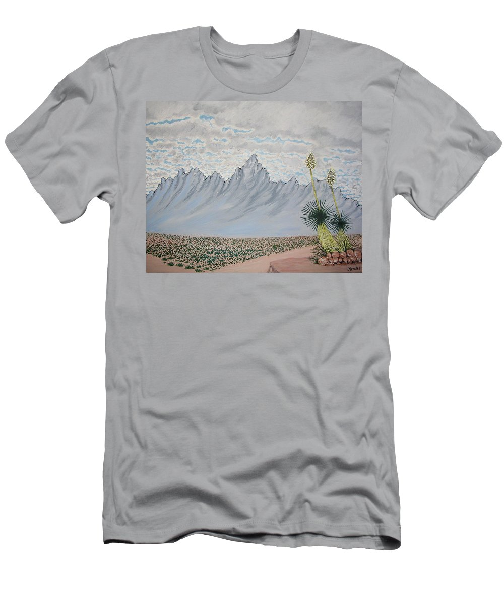 Desertscape Men's T-Shirt (Athletic Fit) featuring the painting Hazy Desert Day by Marco Morales