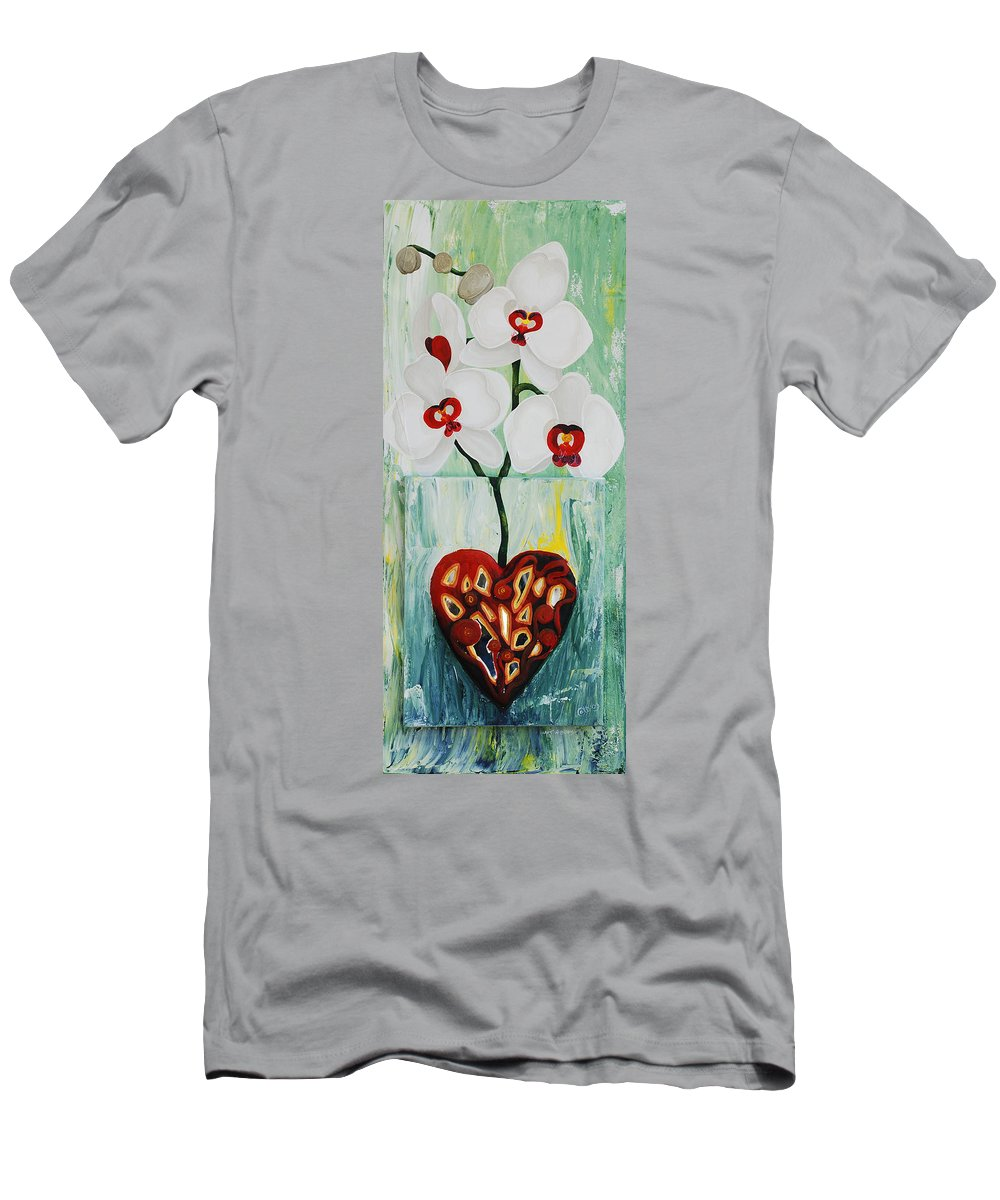 Heart In Bloom Men's T-Shirt (Athletic Fit) featuring the painting Heart In Bloom by Catt Kyriacou