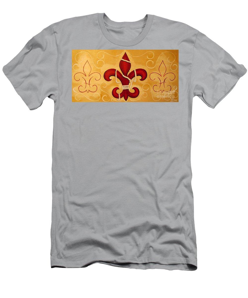 Fleur De Lis Men's T-Shirt (Athletic Fit) featuring the painting Heart Of New Orleans by Valerie Carpenter