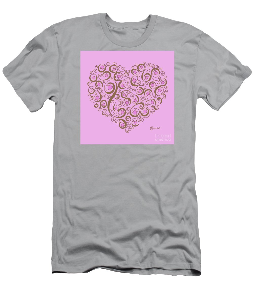 Heart Men's T-Shirt (Athletic Fit) featuring the digital art Heart With Pink Flowers And Swirls by Caroline Sachiko Shirota