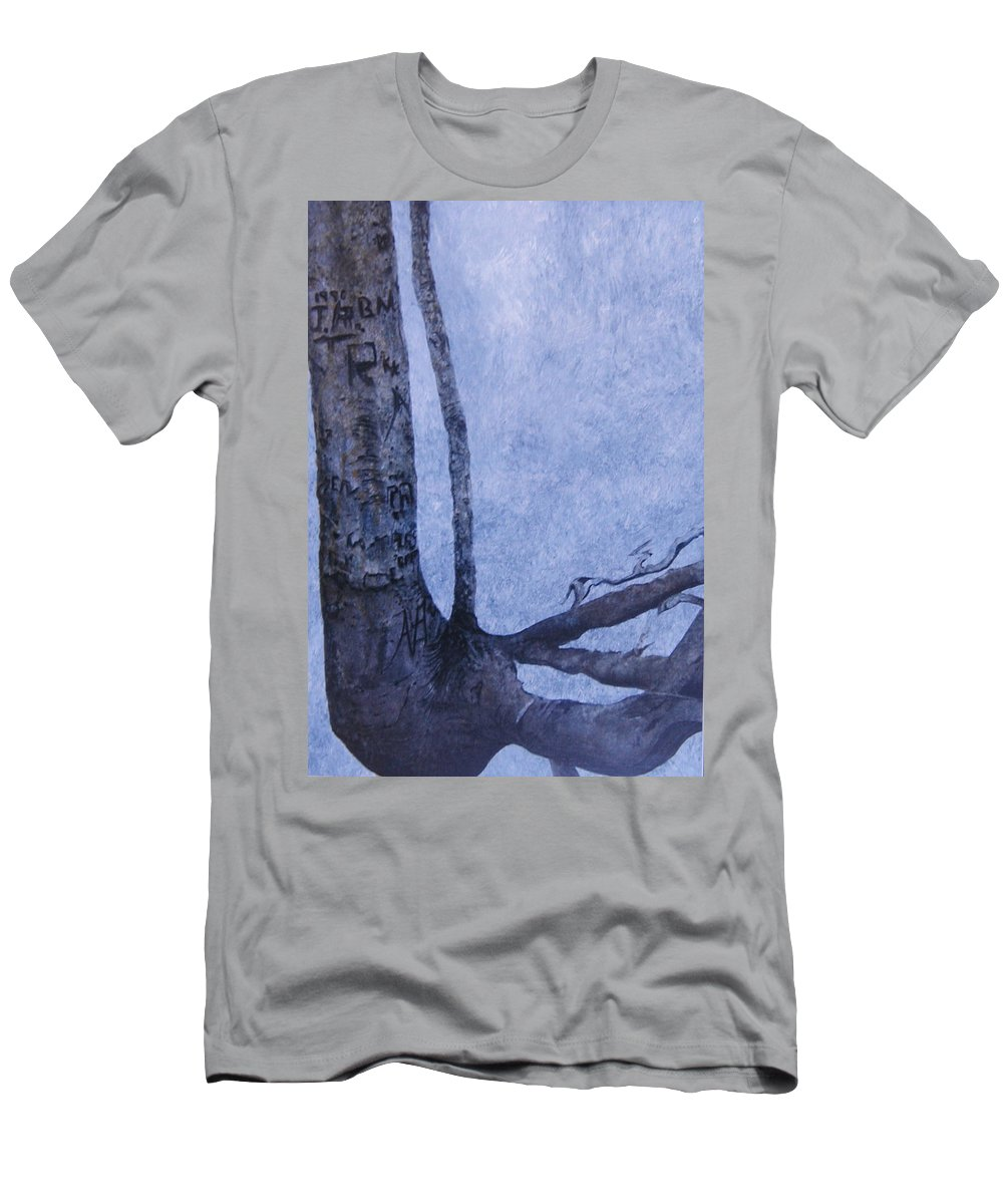 Tree Trunk T-Shirt featuring the painting Hedden Park II by Leah Tomaino