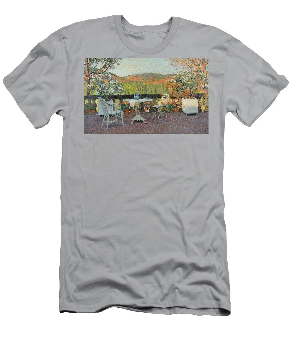 Henri Martin 1860 - 1943 Tea Time On The Terrace Marquayrol Men's T-Shirt (Athletic Fit) featuring the painting Henri Martin 1860 - 1943 Tea Time On The Terrace Marquayrol by Adam Asar