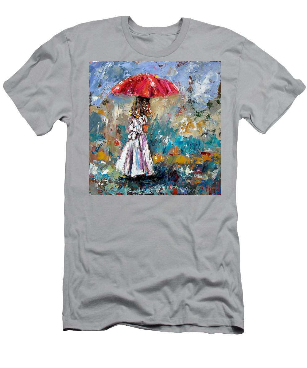Children Art Men's T-Shirt (Athletic Fit) featuring the painting Her White Dress by Debra Hurd