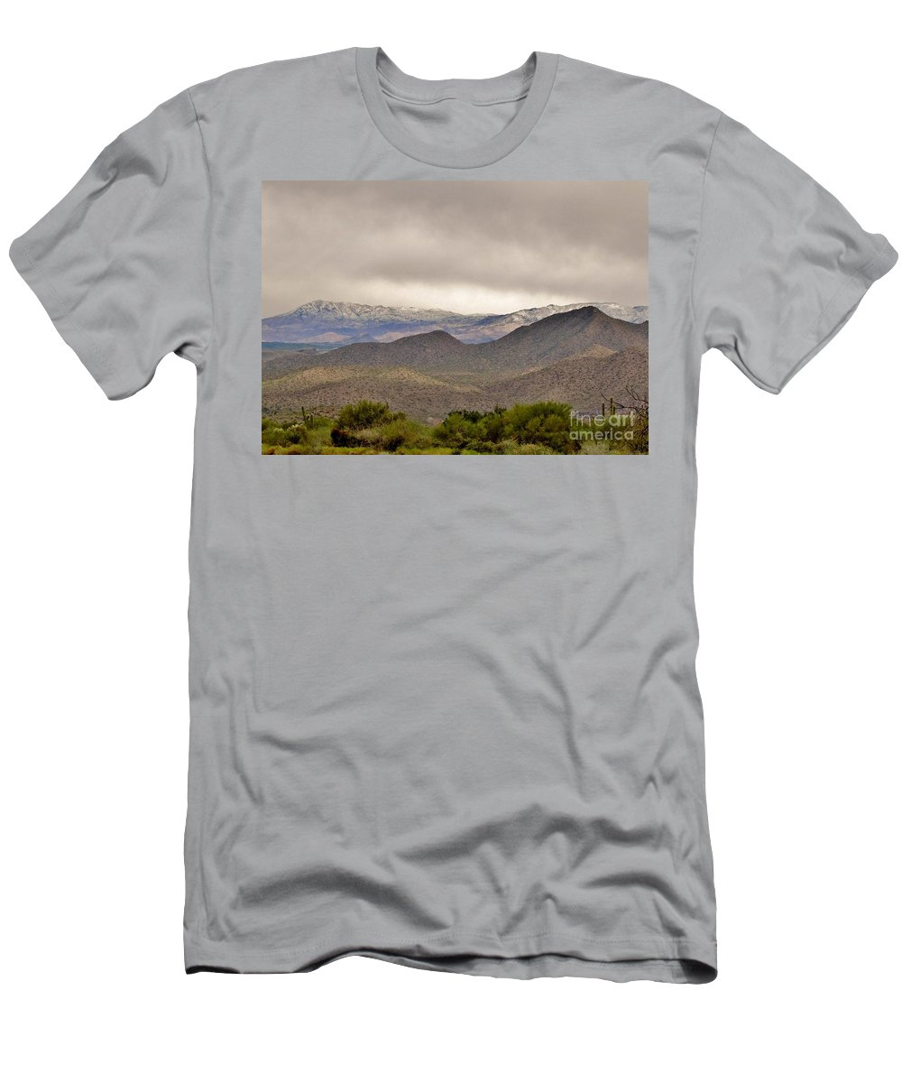 Arizona Landscape Men's T-Shirt (Athletic Fit) featuring the photograph Here Comes The Sun by Marilyn Smith
