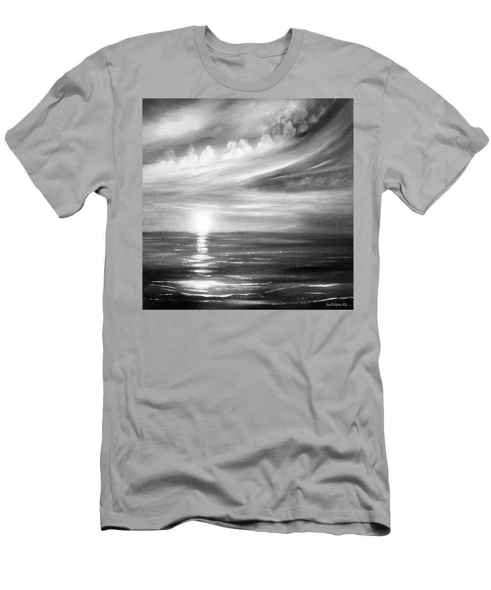 Sunset Men's T-Shirt (Athletic Fit) featuring the painting Here It Goes - Square Sunset In Black And White by Gina De Gorna