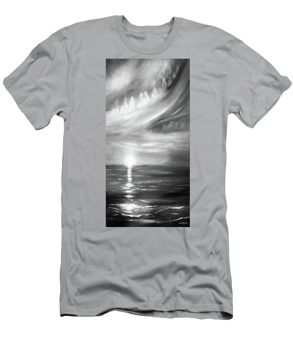 Sunset Men's T-Shirt (Athletic Fit) featuring the painting Here It Goes -vertical Sunset In Black And White by Gina De Gorna