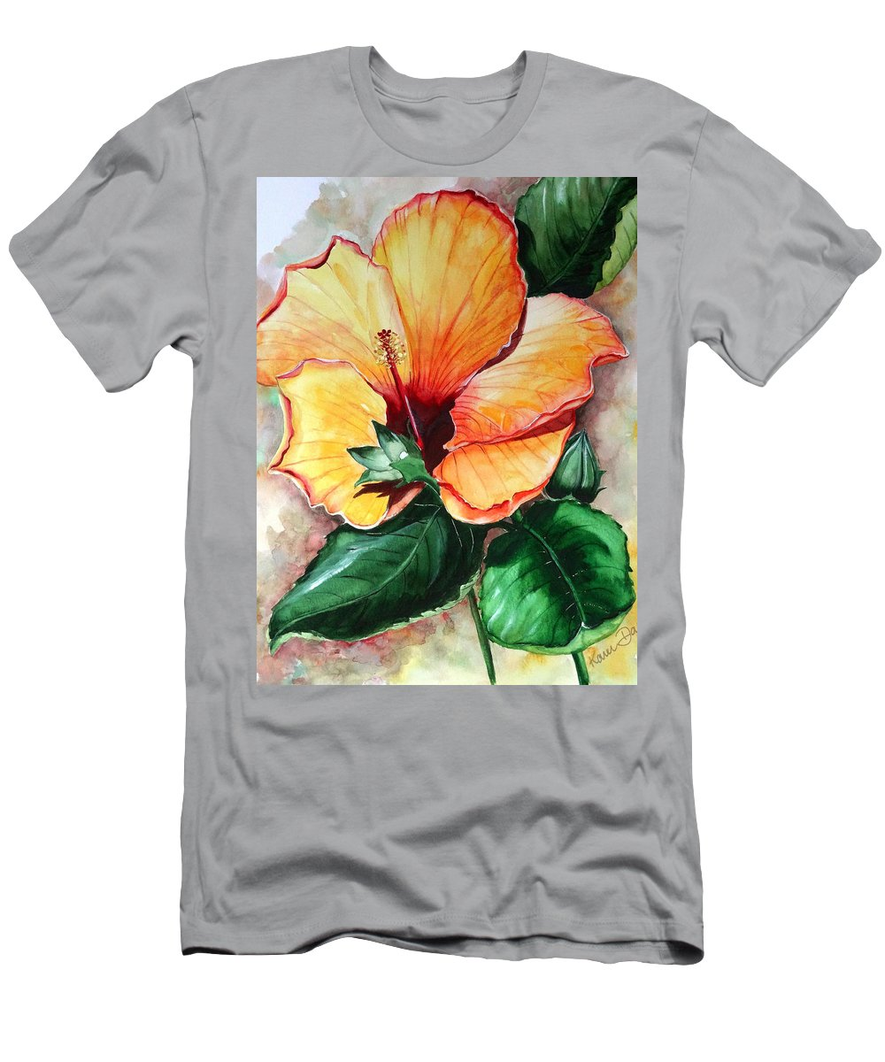 Flower Paintings Bloom Paintings Caribbean Paintings Floral Paintings Tropical Paintings Yellow Hibiscus Paintings Greeting Card Paintings Canvas Print Paintings Poster Art Paintings Men's T-Shirt (Athletic Fit) featuring the painting Hibiscus Sunny by Karin Dawn Kelshall- Best