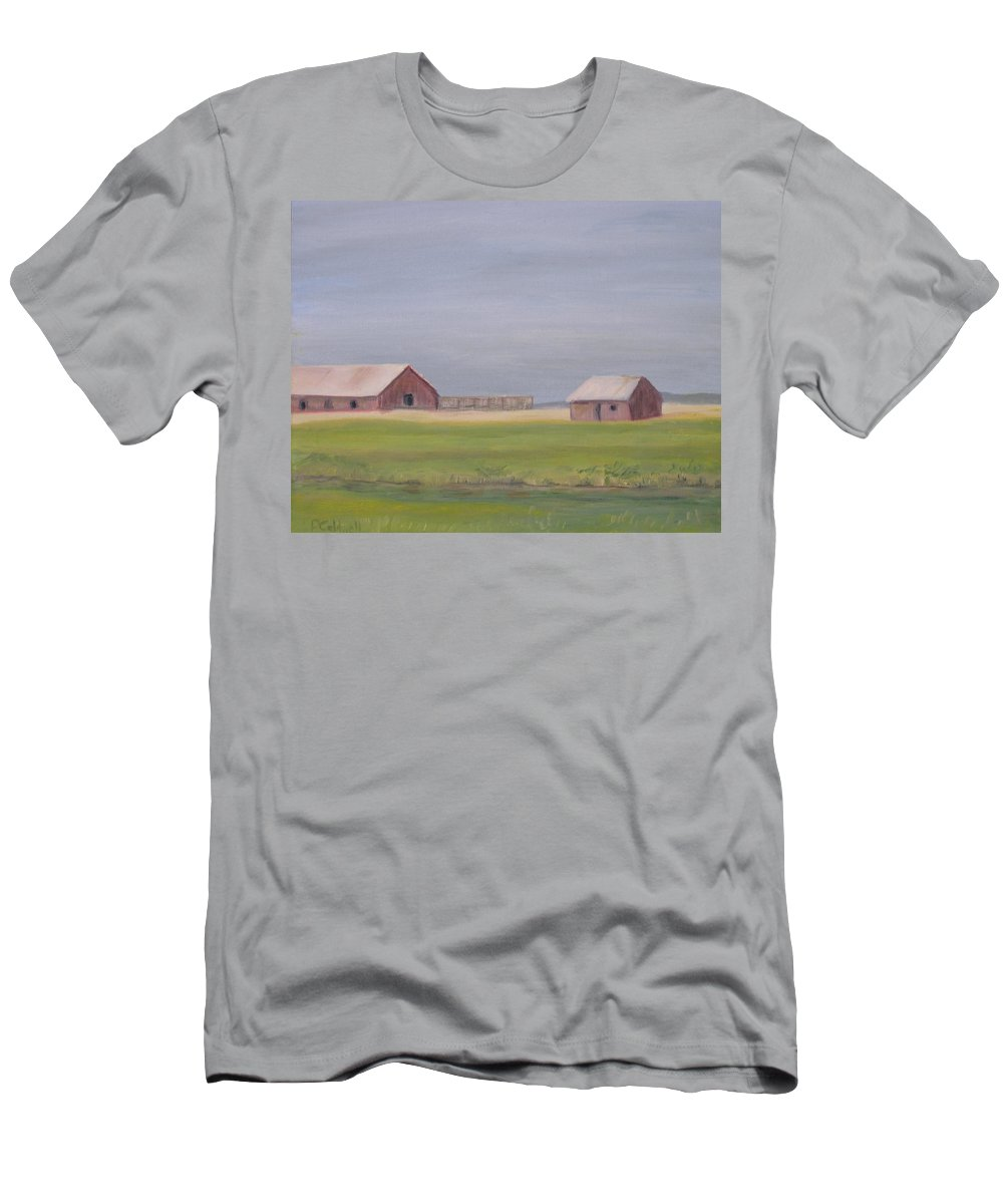 Landscape Plains Barn Men's T-Shirt (Athletic Fit) featuring the painting High Plains by Patricia Caldwell