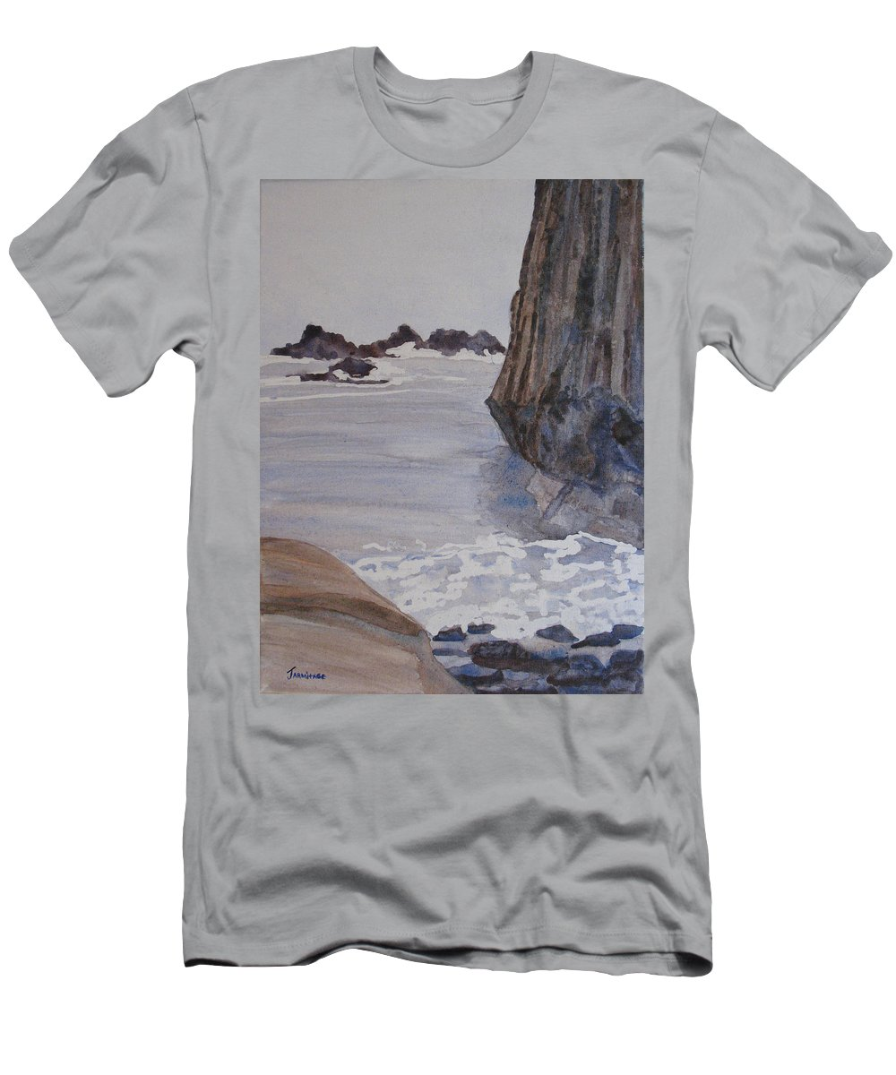 Seapcape. Seascapes Men's T-Shirt (Athletic Fit) featuring the sculpture High Tide At Seal Rock by Jenny Armitage