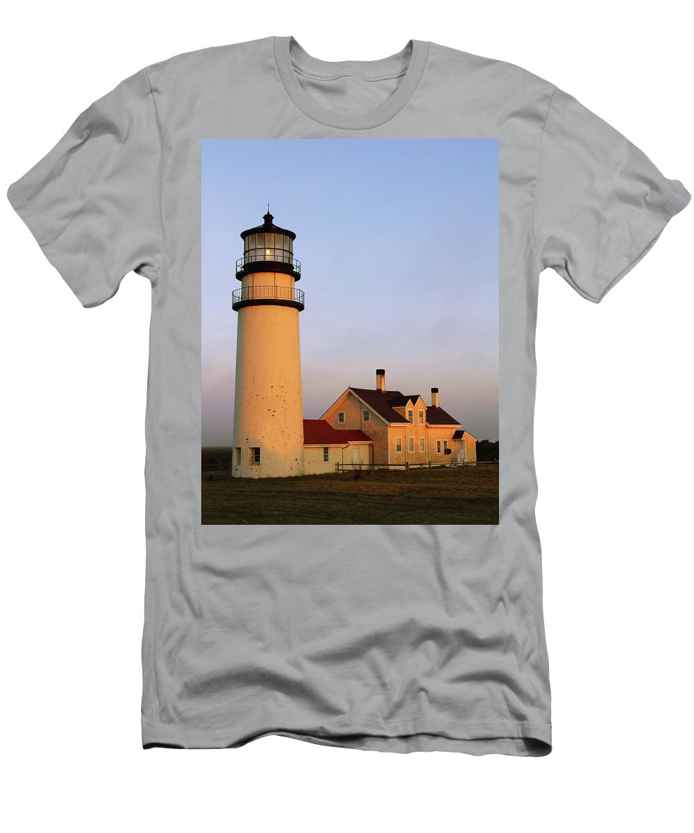 Lighthouse Men's T-Shirt (Athletic Fit) featuring the photograph Higland Lighthouse Cape Cod by Roupen Baker