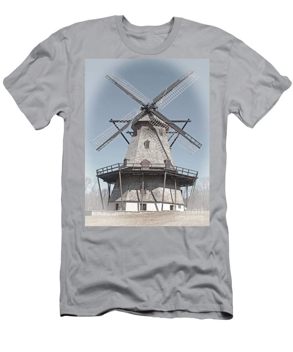Windmill Men's T-Shirt (Athletic Fit) featuring the photograph Historic Windmill by Ann Horn
