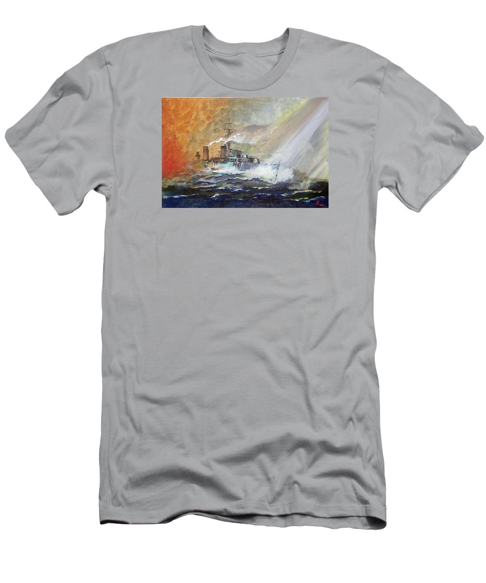 Wwii Men's T-Shirt (Athletic Fit) featuring the painting Hms Duncan by Ray Agius