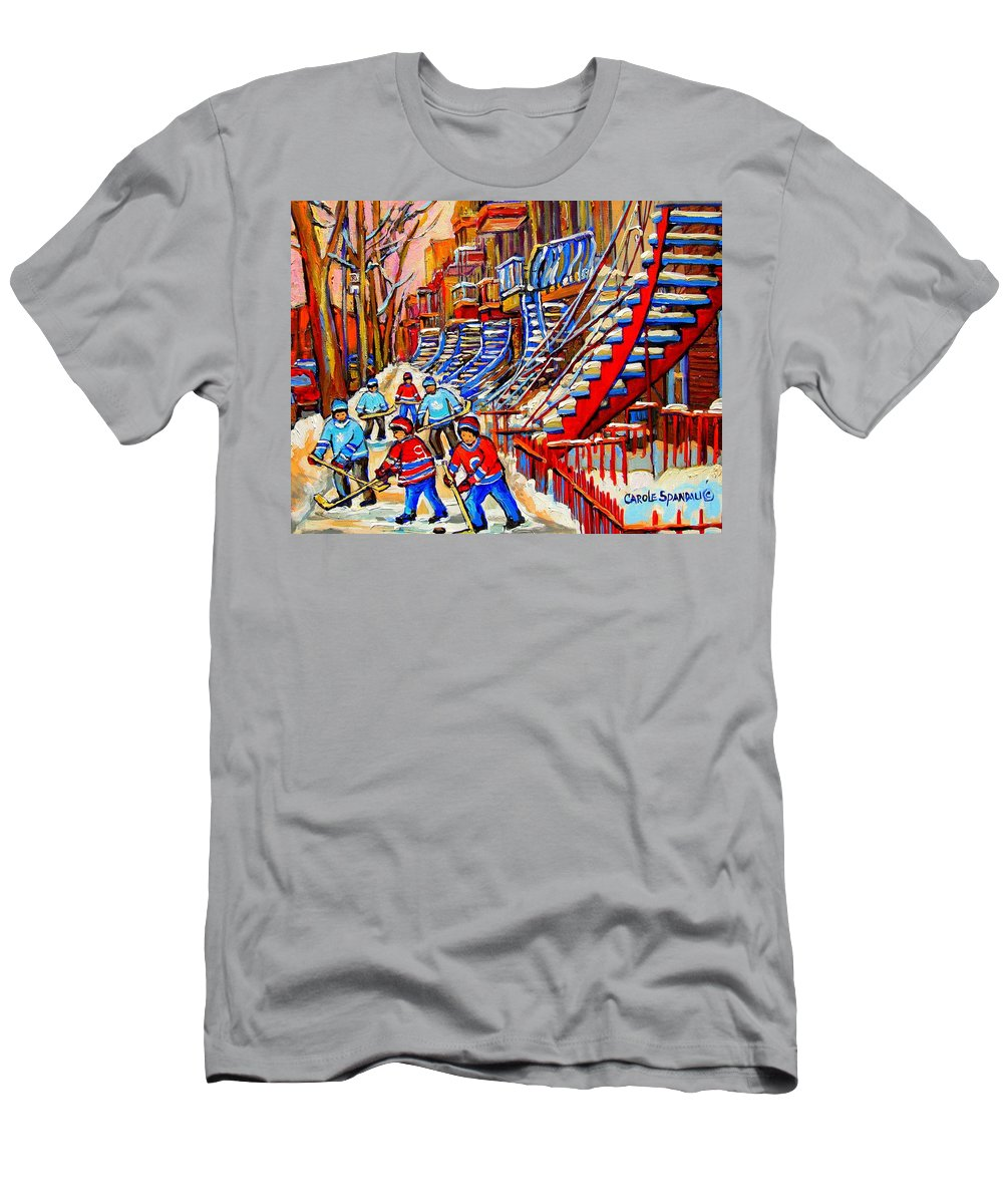 Montreal City T-Shirt featuring the painting Hockey Game Near The Red Staircase by Carole Spandau