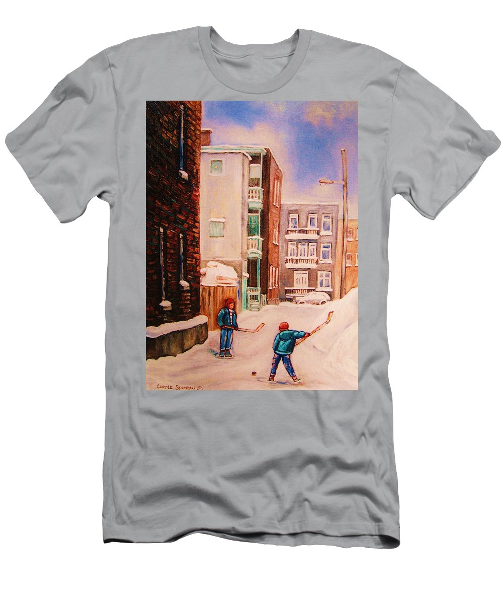 Hockey Men's T-Shirt (Athletic Fit) featuring the painting Hockey Practice by Carole Spandau