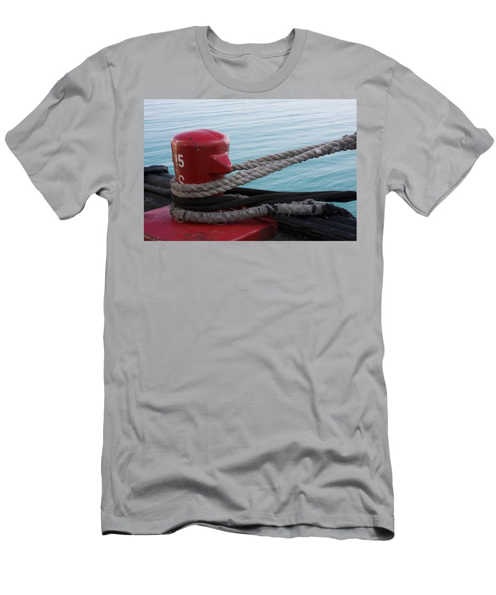 Chicago Windy City Navy Pier Lake Michigan Water Red Blue Wave Rope Ship Boat Men's T-Shirt (Athletic Fit) featuring the photograph Holding Tight by Andrei Shliakhau