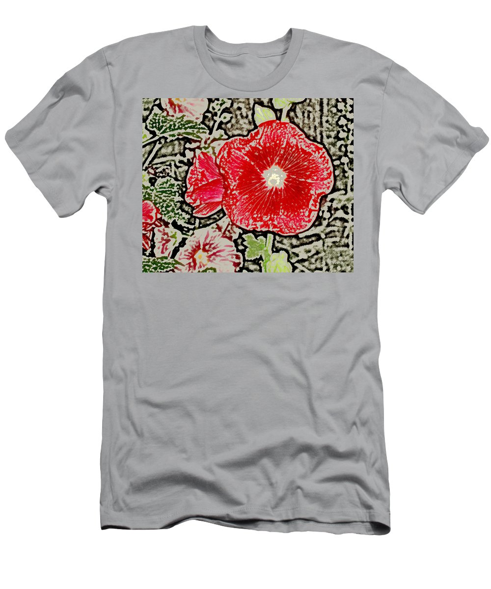 Flower Men's T-Shirt (Athletic Fit) featuring the photograph Hollyhock by Wayne Potrafka