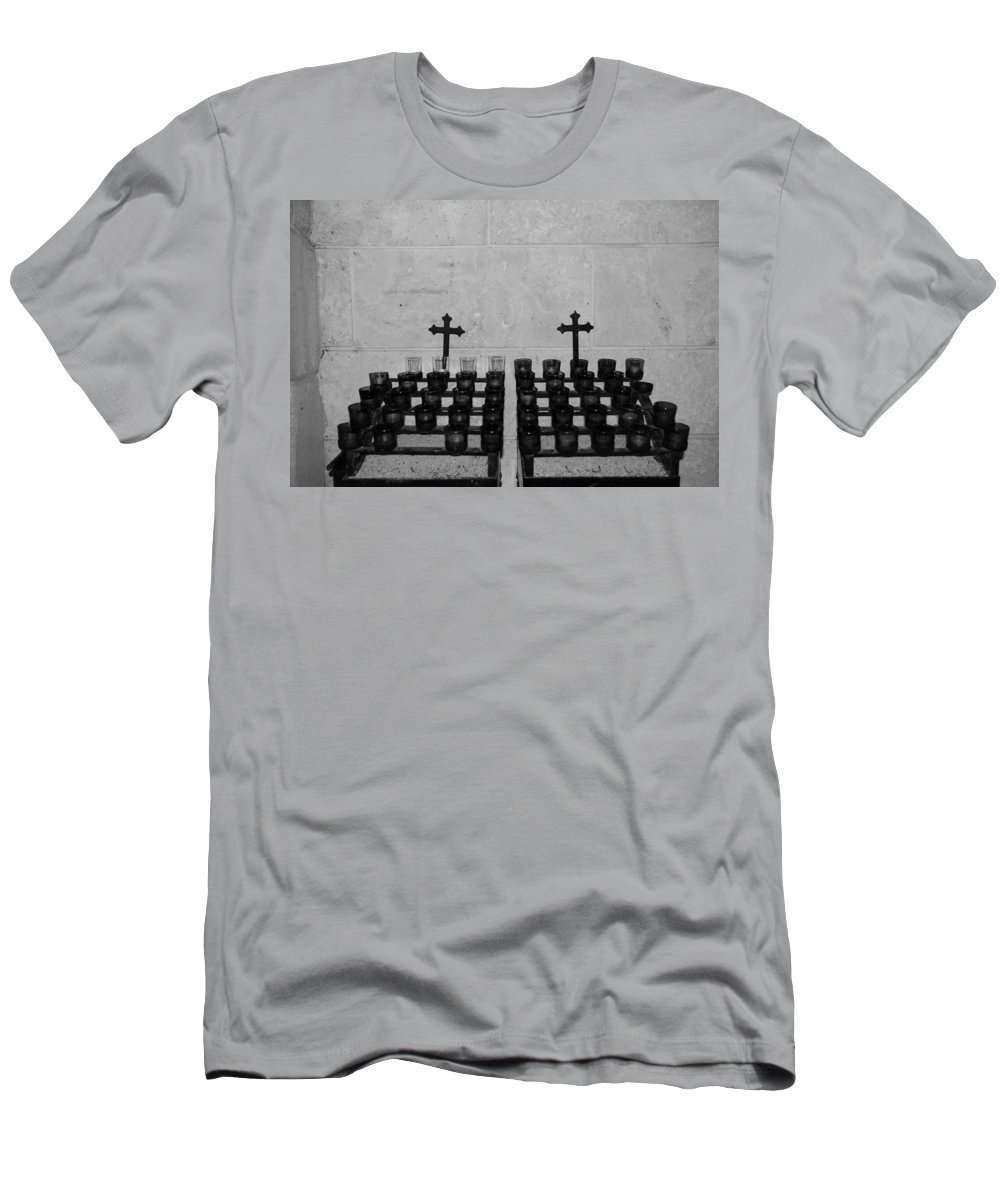 Black And White Men's T-Shirt (Athletic Fit) featuring the photograph Holy Candles.... by Rob Hans