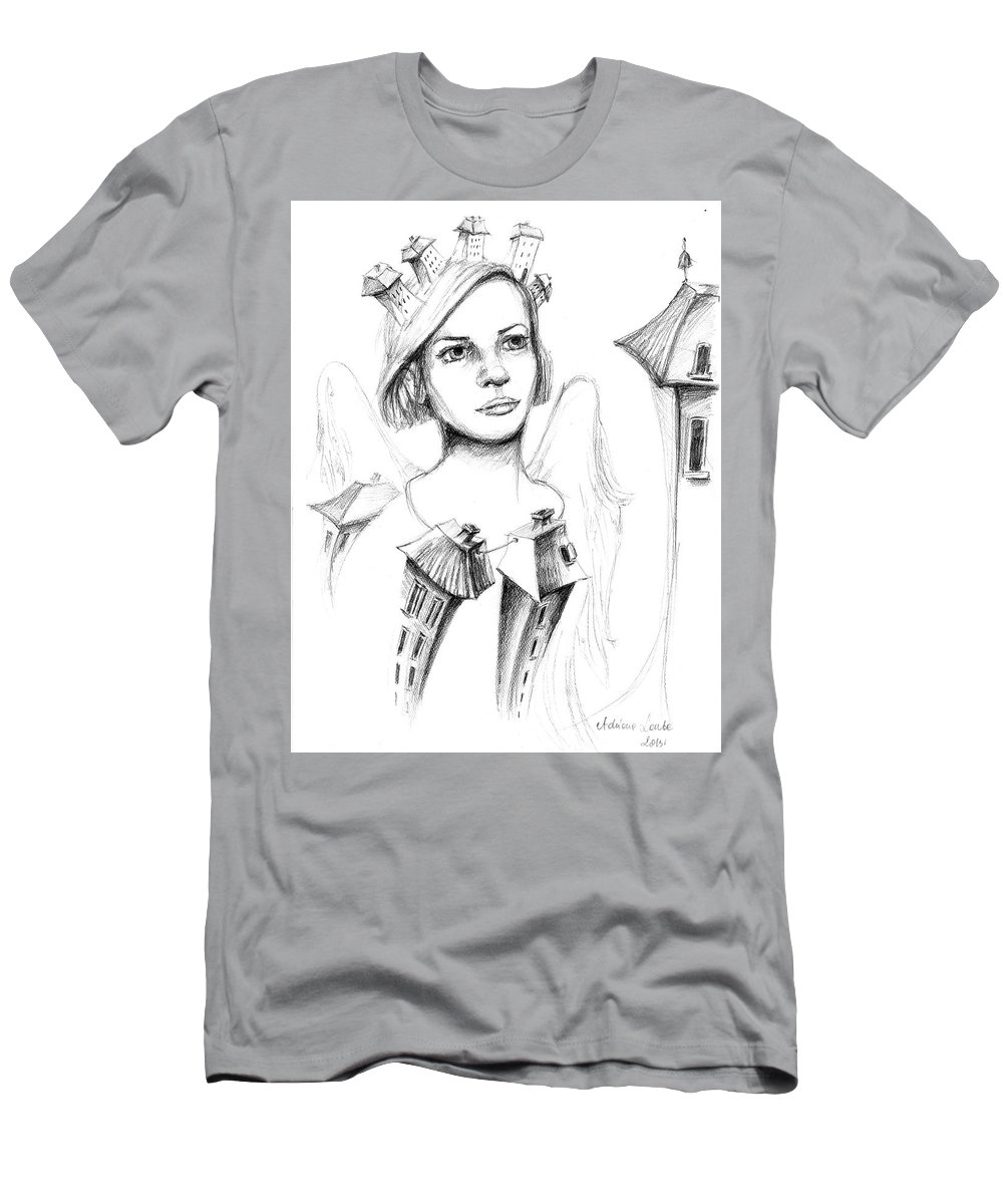 Woman Men's T-Shirt (Athletic Fit) featuring the drawing Home Angel by Adriana Laube