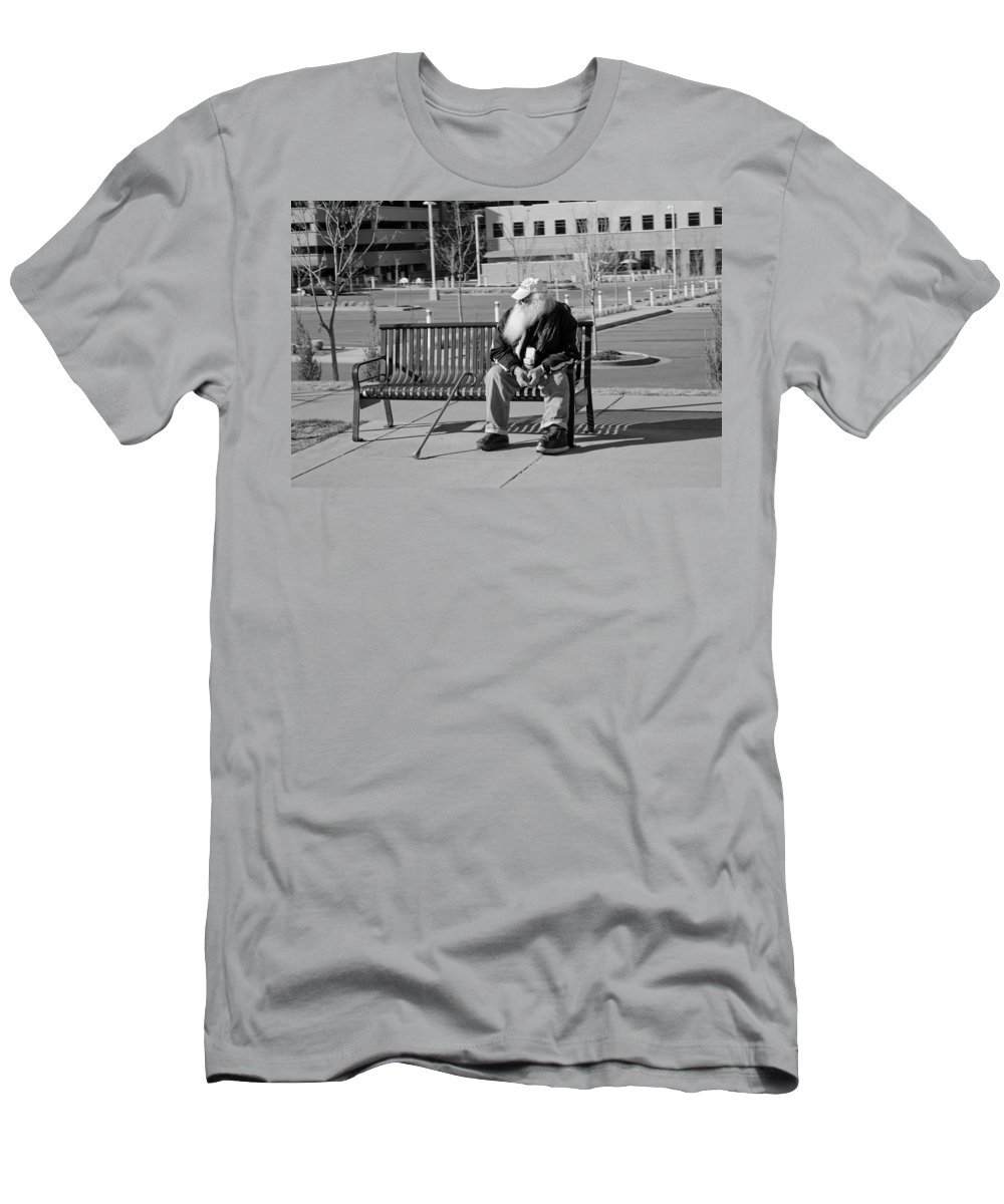 Portrait Men's T-Shirt (Athletic Fit) featuring the photograph Homeless Man by Angus Hooper Iii