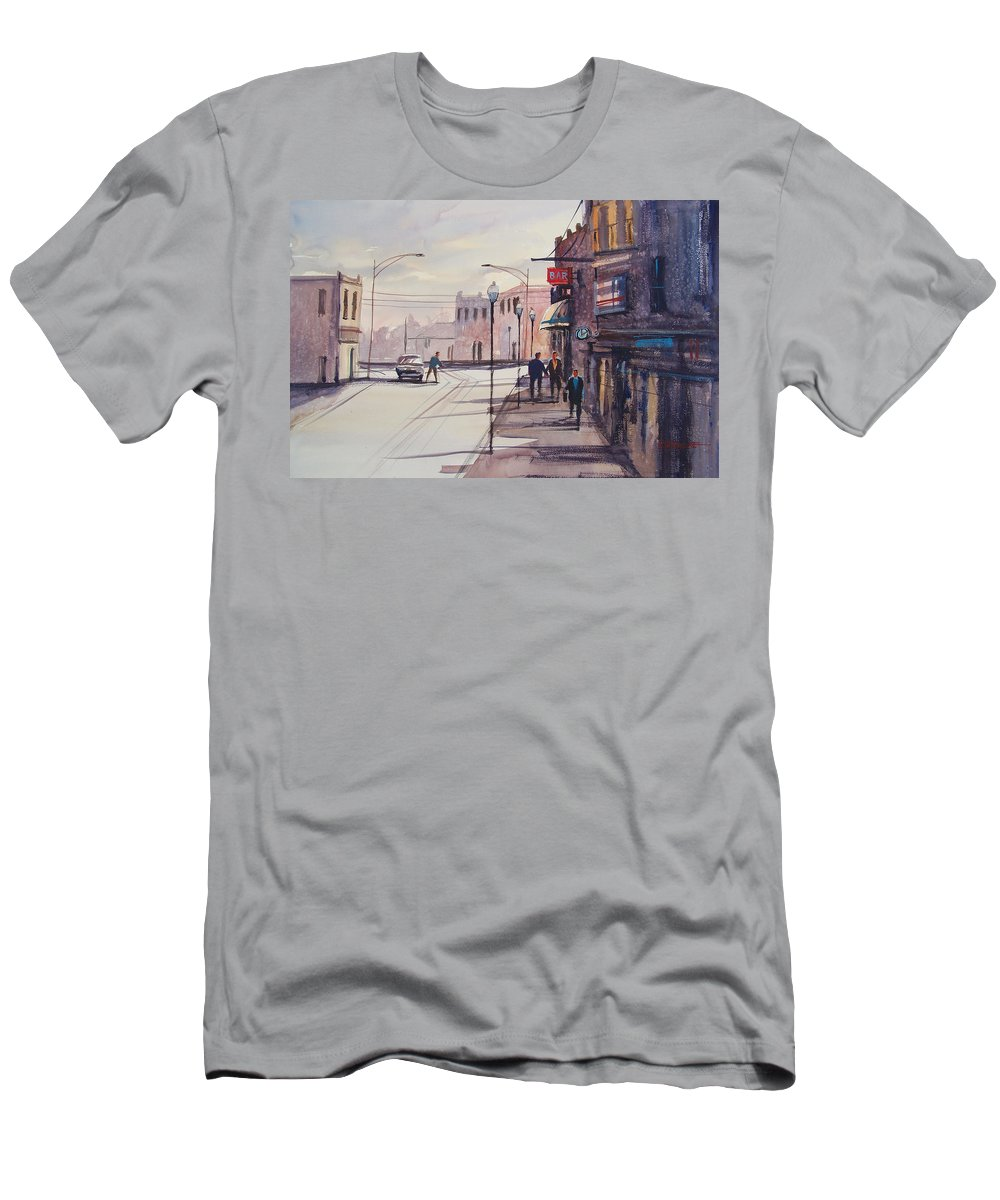 Street Scene Men's T-Shirt (Athletic Fit) featuring the painting Hometown Shadows by Ryan Radke