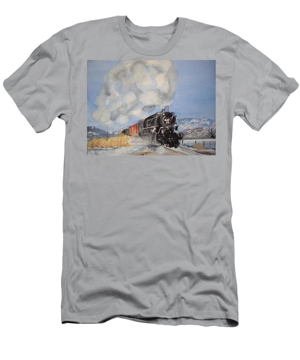 Train Men's T-Shirt (Athletic Fit) featuring the painting Homeward Bound by Carole Robins